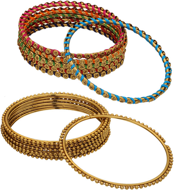 Sukriti Indian Bollywood Antique Look Charming Party wear Golden-Silver Bangles Girls /& Women Set of 24