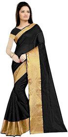 Florence Black Cotton Silk Printed Saree with Blouse