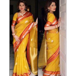 SVB SAREES Yellow Colour Khadi Silk Saree With Blouse Piece
