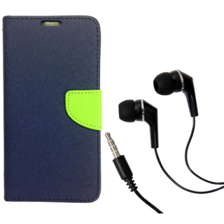 Magnetic Lock Diary Wallet Style Flip Cover Case for Sony Xperia M2 ( BLUE ) With Earphone (3.5mm jack)