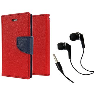 Magnetic Lock Diary Wallet Style Flip Cover Case for Samsung Galaxy J2 ( RED ) With Earphone (3.5mm jack)