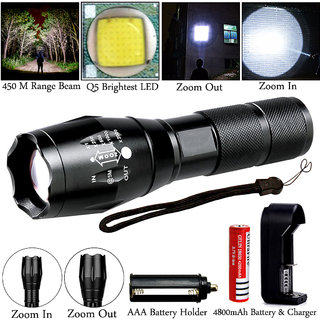 450 Meter Zoomable 5 Mode Rechargeable Waterproof Metal LED Flashlight Torch Outdoor Lamp Light Searchlight 12W