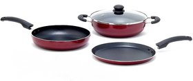 Buyers high quality non stick set of 3 piece non stick kadai, fry pan, dosa tawa
