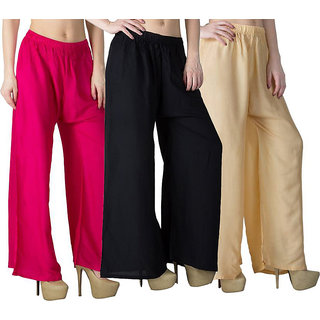 Daily wear Causal black Pink and Skin colour of palazzo pant /Sharara or trousers