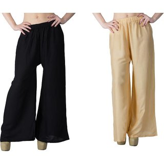 Pack of two skin  black palazzo pant for women