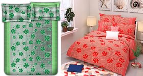 Choco Green Red Frooti Combo Double Bedsheet Pack Of 2