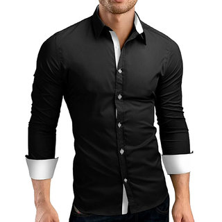 US Pepper Designer Black White Cotton Shirt (Pack of 1)