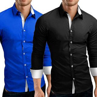 US Pepper Designer Royal White  Black White Cotton Shirt (Pack of 2)