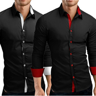 US Pepper Designer Black Red  Black White Cotton Shirt (Pack of 2)