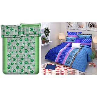Choco Green Frooti  Blue Tree Combo Double Bedsheet Pack Of 2