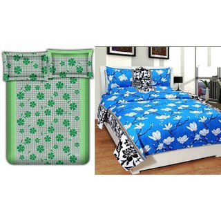 Choco Green Frooti  Blue White Flower Combo Double Bedsheet Pack Of 2