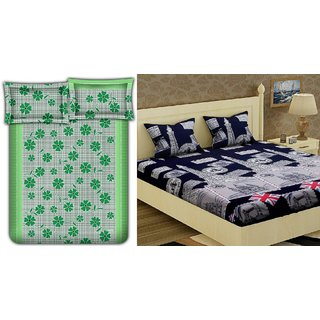 Choco Green Frooti  London Tower Combo Double Bedsheet Pack Of 2