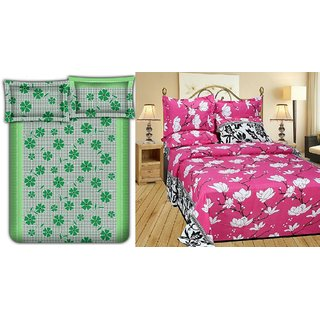 Choco Green Frooti  Pink White Flower Combo Double Bedsheet Pack Of 2