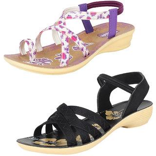 Bersache Women/Girls Combo Pack 2 Sandals