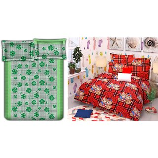 Choco Green Frooti  Red Cat Combo Double Bedsheet Pack Of 2