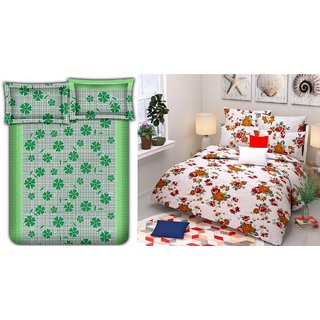 Choco  Green Frooti  White Flower Combo Double Bedsheet Pack Of 2