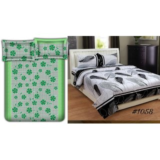 Choco Green Frooti  White Patti Combo Double Bedsheet Pack Of 2