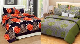 Choco Creation Orange Leaf And Green Frooti Combo Cotton Double Bedsheet Pack Of 2