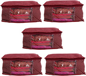 Bulbul Red polka dot Saree Covers - 5 Pcs