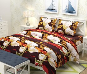 Polycotton Double Bedsheets with 2 Pillow Covers by Choco Creation - Brown 3D Printed