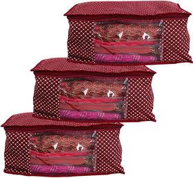 Bulbul Red polka dot Saree Covers - 3 Pcs