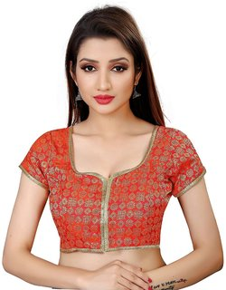 Holyday Fashion New Party Wear Designer Full Stitched Ready Made Blouse For Women in Orange Color