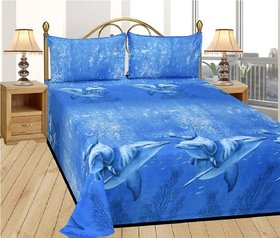 Choco Whael Blue  double Bedsheet pack of 1
