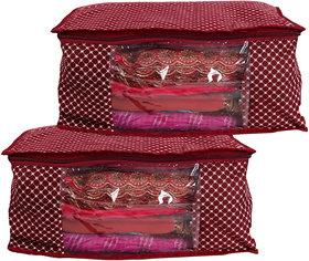 Bulbul Red polka dot Saree Covers - 2 Pcs