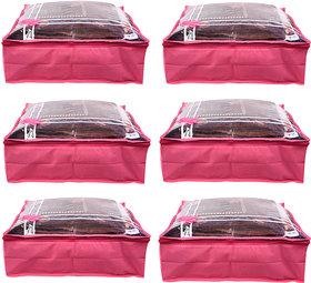 Bulbul Pink bow Saree Covers - 6 Pcs