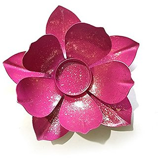 Pink Lotus Tea Light Candle Stand(Metal)