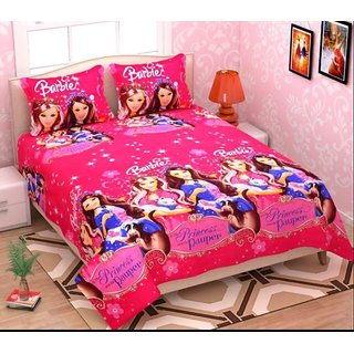 Choco Pink Barbie Double Bedsheet pack of 1