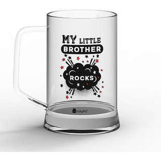 Indigifts Rakshabandhan Gifts For Brother Little Rocks Quote Printed Clear Beer Mug 370 Ml
