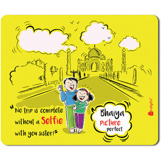 Indigifts Rakshabandhan Gifts For Brother Selfie With Sister Quote Printed Yellow Mouse Pad 85x7 Inches