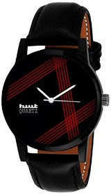 HWT Round Dial Black Leather Strap Analog Watch For Men