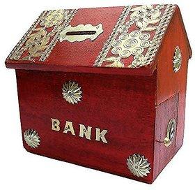 Woodykart Hut Shape Wooden Coin / Money / Piggy Bank Saving Box - (Gift for Kids  Boys/Girls  Toy  Red)