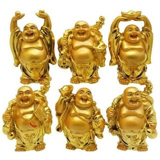 DYNAMIC MART Laughing Buddha Set of 6 Feng Shui
