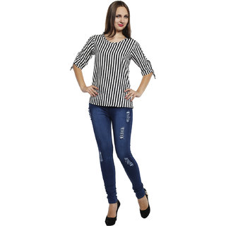7913e0c6b94dfd Tamina Fashion Black and White Stripe Printed Crepe Cut-Out Sleeves Top
