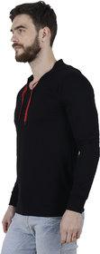 PANCHKOTI Men's Black Hooded Full sleeve  Cotton Blended Plain T-shirt