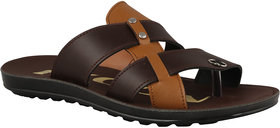 Birde Brown Leather Slippers For Men