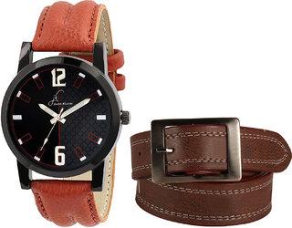Jack klein Elegant Round Black Dial Brown Quartz Watch And Brown Belt