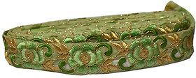 Green Golden Trim Lace Border For Sarees Dupatta Blouse 2.5 mtr