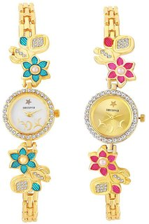 Shostopper Analog Quartz Gold & White Round Dial With Multicolor Stainless Steel Party Wear Watches For Girls - Combo