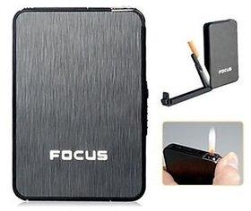 Focus Ultra Thin Cigarette Case with inbuilt Cigarette lighter 2 in 1