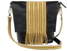 VASA Girls and Women's Sling Bag in Black yellow color