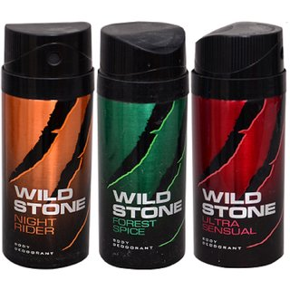 WiLD STONE Night rider,Forest Spicy  Ultra Sensual (each 150ml) Pack of 3
