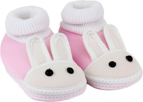 Neska Moda Baby Boys and Girls Rabbit Baby Pink Booties For 0 To 12 Months Infants SK178