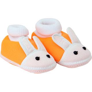 Neska Moda Baby Boys and Girls Rabbit Orange Booties For 0 To 12 Months Infants SK177