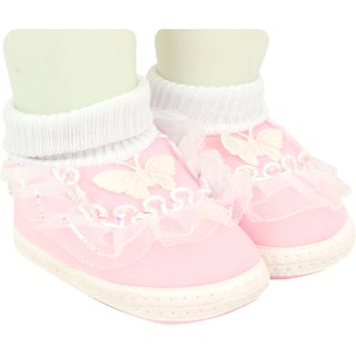 Neska Moda Baby Boys and Girls Frill Butterfly Baby Pink Booties For 0 To 12 Months Infants SK179