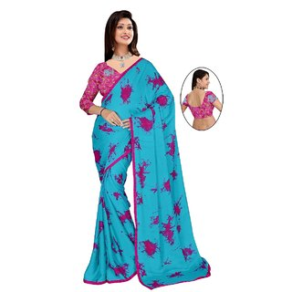 Manish Distributors Pink Satin Georgette Printed Sarees