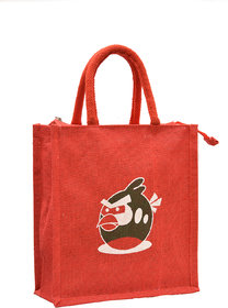 Red Color Angry Bird Design With Red Rope Handle Jute B